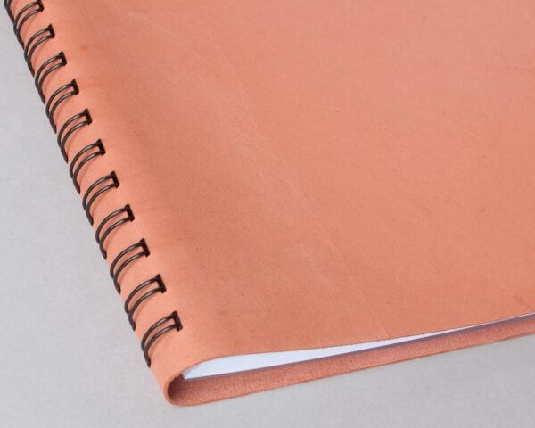 Leather-Wedding-guest-book-coral