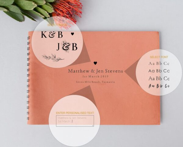 leather guest book coral